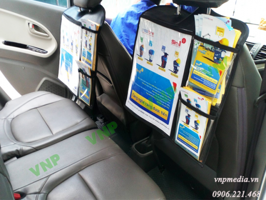 quảng cáo Taxi dán sau lưng ghế